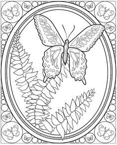 Butterfly Coloring Pages Dover Publications Dover Coloring Pages, Printable Coloring Pages, Adult Coloring Pages, Coloring Books, Colorful Drawings, Colorful Pictures, Zentangle, Papillon Butterfly, Butterfly Coloring Page