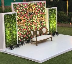 Floral backdrop Colourful floral backdrop for reception setup. Wedding Walkway, Wedding Hall Decorations, Wedding Stage Design, Wedding Reception Backdrop, Marriage Decoration, Engagement Decorations, Flower Decorations, Wedding Entrance, Indian Wedding Stage