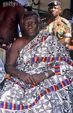 Africa |  President Kuffour in traditional adinkra robes at the Manhyia palace of the Ashanti King. Kumasi, Ashanti region, Ghana | ©Max Milligan