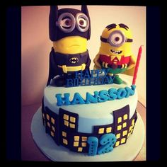 Minion caped crusaders cake