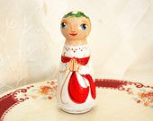 Santa Lucia or Saint Lucy Doll - Catholic Wooden Toy - Made to Order