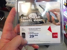 """You'll see plenty of SIM-related packages at newsstands in France and throughout Europe, like SFR's """"Call Cheap"""" package for visitors. Photo: EuroCheapo"""