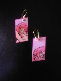Pop Art Earrings Laminated Handmade Jewelry by VenusTreasuresgr