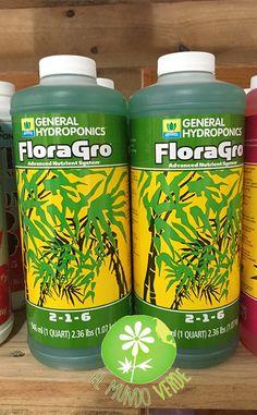 FloraGro estimula el crecimiento estructural y vegetal, Construye raíces fuertes, Proporciona Nitrógeno, Fósforo, Potasio y minerales secundarios.  De venta en la tienda y tienda en línea El Mundo Verde, visita nuestra página www.elmundoverde.mx
