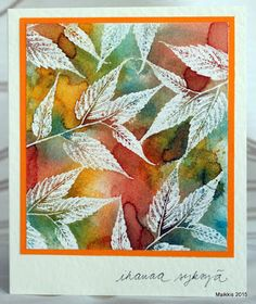 handmade card from KortteiluFlow: On paper, DT autumn color splendor ... white embossed leaves ... sprays of Autumn color ... gorgeous!