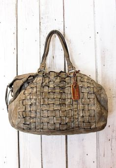 Handmade woven leather bag