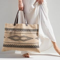 Kilim Jute Bag by The Beach People Tote Bags For College, The Beach People, Leather Stamps, Craft Bags, Jute Bags, Fabric Bags, Leather Handle, Purses And Bags, Reusable Tote Bags