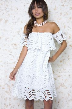 white off shoulder dress Cute White Dress, White Dress Summer, Little White Dresses, Summer Dresses, Rehearsal Dinner Outfits, White Off Shoulder Dress, Mexican Dresses, Luxury Dress, Bridal Outfits
