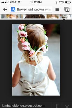 DIY flowergirl flower wreath/crown. This would look so precious on my flower girls! They are both young so I would have to wait until closer to the ceremony to measure their heads properly.