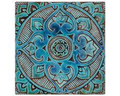 Mandala appeso a parete - parete con texture arte - decorativo appesi piastra - turchese (III)