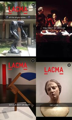 Snapchat is growing in the museum world, especially with the LACMA, this museum mostly uses thier snapchat to poke fun and include pop culture references to gain a younger crowd's interest in museums. There are other museums in this article that have also jumped on the bndwagon, including the Georgia Museum of Art who today posted a behind the scenes cleaning of a piece.
