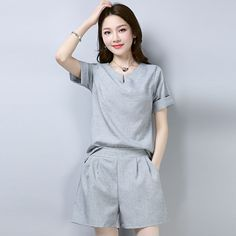 Cheap Women's Sets, Buy Directly from China Suppliers:2018 summer new fresh cotton and linen two piece set plus size O-Neck short-sleeve top loose casual shorts 2 piece set women 197