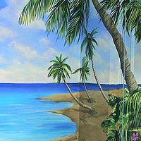 BEACH MURAL - Cindy Scaife  cindyscaife.com  Painted for Paint A Lifestyle Bedroom Themes, Bedroom Styles, Bedroom Ideas, Beach Mural, Beach Art, Kid Bedrooms, Teen Bedroom, Paint Decor, Wall Murals