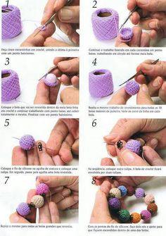 Pulsera de bolas en crochet