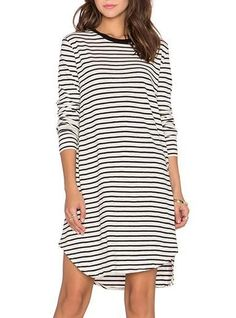 Black White Striped Cotton Dress - Rounded Neck / Three Quarter Sleeves