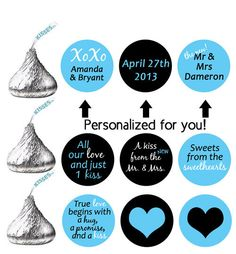 stickers for HERSHEY'S KISSES wedding favors (kiss29) personalized labels xoxo sweethearts true love