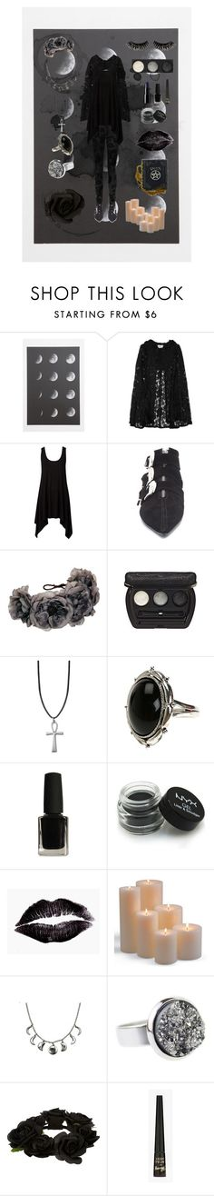 """""""moon magick"""" by ghostmoth ❤ liked on Polyvore featuring Current/Elliott, Imitation, Rock 'N Rose, Laura Geller, NYX, Frontgate, Aroma, River Island, Barry M and Boohoo"""