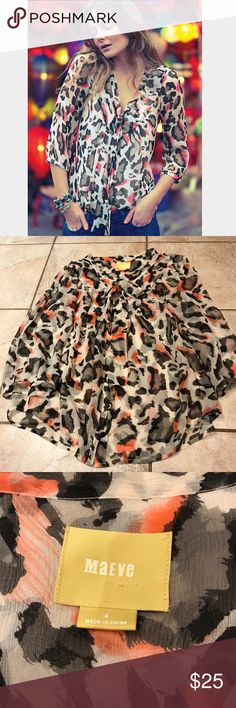 Anthropologie Sundra Leopard Blouse, sz 4 By Maeve. In VGUC Anthropologie Tops
