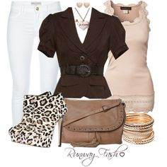 A fashion look from January 2013 featuring lace tank, brown jacket and skinny jeans. Browse and shop related looks.