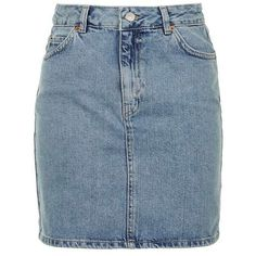 TopShop Moto Denim Mini Skirt ($39) ❤ liked on Polyvore featuring skirts, mini skirts, bottoms, blue denim skirt, mini skirt, short a line skirt, zipper skirt and a-line skirts