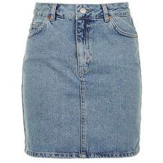 TopShop Moto Denim Mini Skirt (340 NOK) ❤ liked on Polyvore featuring skirts, mini skirts, short skirts, topshop skirt, zipper skirt, short mini skirts and blue mini skirt