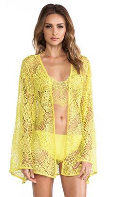 For Love & Lemons Dream Girl Robe in Chartreuse