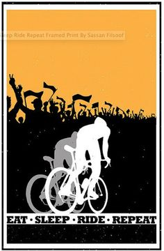 """Retro motivational cycling poster2 colour silhouette: Eat Sleep Ride Repeat 23""""X36"""" on Etsy, $80.00"""