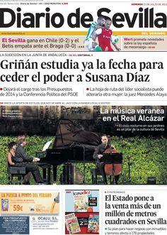 Los Titulares y Portadas de Noticias Destacadas Españolas del 21 de Julio de 2013 del Diario de Sevilla ¿Que le pareció esta Portada de este Diario Español?