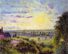 Sunset at Eragny - Camille Pissarro