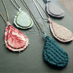 Check out how to make these simple fabric pendant necklaces inspired by Alli Coates (image via Alli Coates)