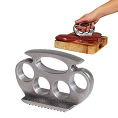 I want to be a badass and have brass knuckle meat tenderisers. New meaning to beating meat. XD