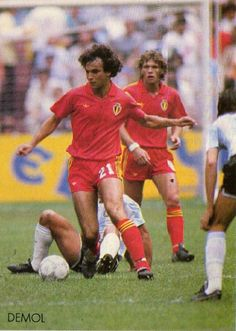 Argentina 2 Belgium 0 in 1986 in Mexico City. Stephane Demol comes forward for Belgium in the World Cup Semi Final.