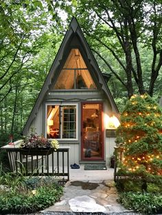 Riverwood Chalet - circa 1973, an A-Frame on the Middle Fork of the New River: BLOWING ROCK A-FRAME, FOR SALE Tiny House Cabin, Tiny House Living, Tiny House Plans, Tiny House Design, Cabin Homes, Cottage Homes, Tiny Homes, A Frame Cabin, A Frame House