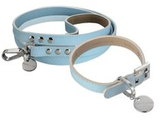 Luxury dog collar and lead.  Hennessy & Sons Saffiano Baby Blue Leather Dog Collar & Lead  www.longpaws.co.uk