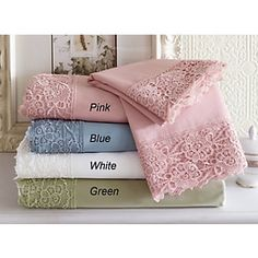 Lace trim sheets in white or cream