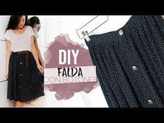 DIY FALDA MIDI BOTONES   Cómo hacer una falda abotonada - YouTube Sewing Tutorials, Sewing Patterns, Youtube Sewing, Skirt Tutorial, Diy Clothes, Sequin Skirt, Crop Tops, Couture, Womens Fashion