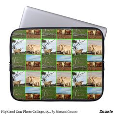 #highlandcattle Highland Cow Photo Collage, 15inch #laptopsleeve
