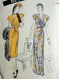 1940s EVENING GOWN or DAY DRESS PATTERN DRAPED LINES, SURPLICE ,V NECKLINE, WRAP AROUND LOOK, BUTTERICK 3506