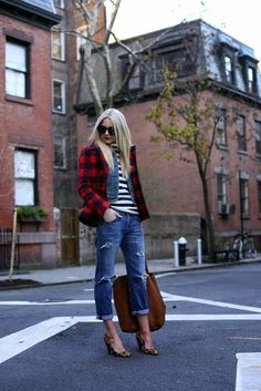Layers! Plaid Stripes Jeans Chambray Shirt