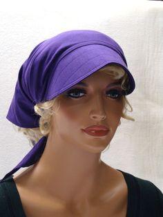 Kopftücher - Kopftuch Brombeer mit Schild - ein Designerstück von MODEATELIER-HILDEGARD bei DaWanda