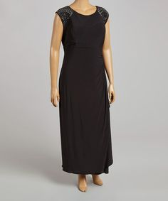 1e7ebd881f7 Look what I found on  zulily! Black Embellished Sleeveless Dress - Plus by  R amp