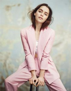 Pantsuit in a light pink hue.