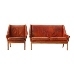 Leather chair and settee by Erik Kolling Andersen