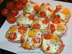 Csont nélkül...csak egyszerűen: Sonkás tojás muffinsütőben Meat Recipes, Recipies, Quiche Muffins, Appetizer Dips, Caprese Salad, Hamburger, Food And Drink, Eggs, Vegetables