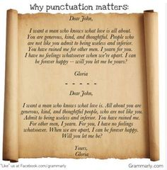 Why punctuation matters. A classic! courtesy of http://www.facebook.com/grammarly