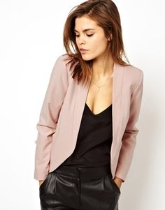 31f17544351 Asos Cropped Blazer with Clean Lapel - Nude on shopstyle.com Blazer Suit