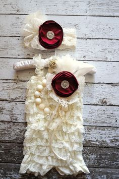 3pc,Ivory Vintage Lace Romper,Petti Romper,Petti Romper Set,Baby Romper,Vintage Headband,Newborn Photo Prop,Christmas Outfit,Toddler