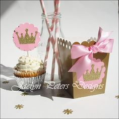 Pink & Gold Princess Party Popcorn Favor Boxes