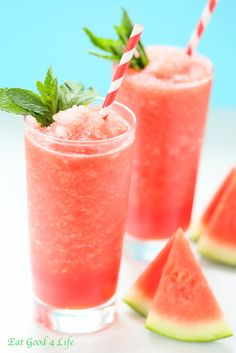 watermelon lemon slush | Eat Good 4 Life. Only 4 ingredients, refreshing, healthy and done in just 5 minutes. You can add some watermelon vodka for an adult version.#truvia
