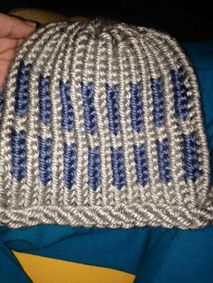 Two tone color hat loom knitted by Michelle S